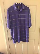 Men's FootJoy Golf Polo Size L Bay Creek Logo Purple Striped Size L