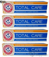 4 Tubes Arm and Hammer Total Care Baking Soda Toothpaste for Pro Feel Cleaning