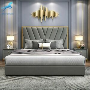 Double Queen-Modern Bed with Grey Tone and Leather Material