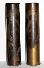 Superbe paire de douilles artisanat poilu trench art, décor femmes, tranchée WW1