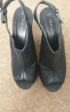 New Look Black Faux leather  Platform Open Toe Ankle Strap Court  UK Size 5 wood
