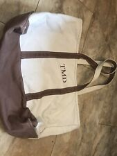LL Bean Vintage Large Boat & Tote Bag With Initials TMD ( Light Brown & Beige)