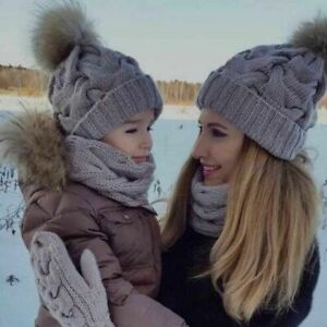 Kids And Adult Winter Warm Pompoms Beanies Set Crochet Fitted Straps Bonnets New