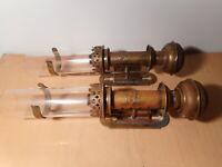 Paire applique lampe huile petrole ancienne 19 siècle type quinquet tube verre