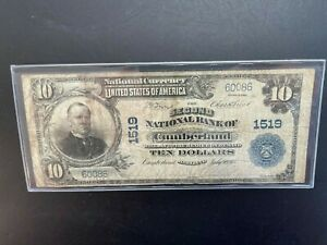 1905 $10 National Currency CUMBERLAND  Large Note