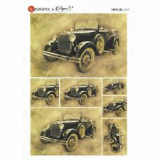 Papier de riz 16x22 cm Voiture Ancienne Collage Scrapbooking Carterie