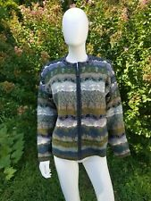 Icelandic design women wool knit nordic whimsy zip front cardigan sweater M