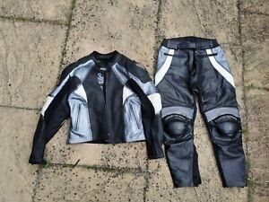 Frank Thomas Ladies Titanium Motorcycle  leathers jacket and trousers UK 12
