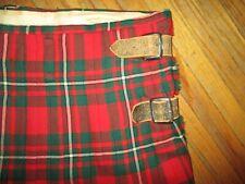 vtg J MORRISON KILT John Edinburgh Scotland Red Tartan Plaid Leather Belt Strap