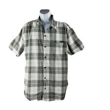 Columbia Button-Front Shirt XXL Gray White Plaid Cotton Short-Sleeve