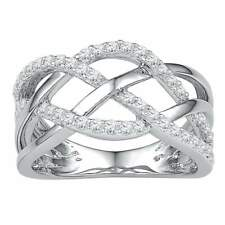 10k White Gold Womens Round Diamond Woven Crossover Fashion Band Ring 1/3 Cttw