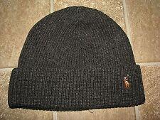 Men's $45. POLO-RALPH LAUREN Charcoal Knit Merino Wool Skull/ Beenie PONY Hat