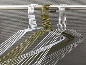 100 Wire Metal Hanger Suit Hangers Trouser Bar Clothes White Silver Bronze