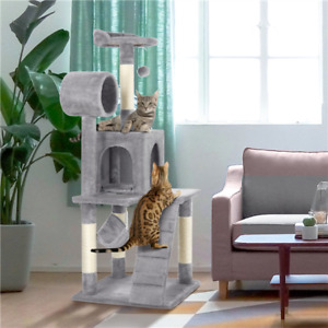 "51"" Cat Tree Bed Furniture Scratching Tower Post Condo Kitten Pet Play House"