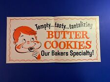 Vintage Sweet Advertisement BUTTER COOKIES sign poster Ephemera 50's/60's Bakery