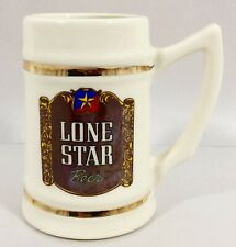 Vtg Lone Star Beer Stein Texas Ceramic 16 oz Gold Trim Logo Lewis Bros Mug RARE