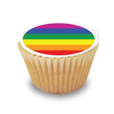 12 x Gay Pride Flag Pre Cut Cupcake Toppers Premium Quality Sugar Icing Sheet
