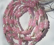 """Pink & Silver African Single Waist Beads, Body Jewellery, 39""""inches long New"""