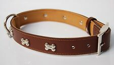 CJ Dog Collars- Luxury Real Leather Padded Bone Charm Dog Collar. Large Brown