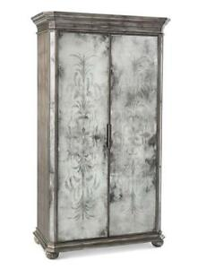 "79"" T Cabinet Etched Mirror Double Doors Carved Bun Feet Canted Corners Wood"