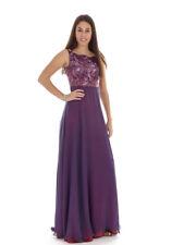 Richard Kravetz Kleid Abendkleid Designerkleid lila Pailletten A-Linie