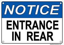 OSHA Notice - ENTRANCE IN REAR Aluminum Sign - NEW OSHA FORMAT