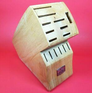 Genuine CHICAGO CUTLERY 15-Slot Wooden Wood Knife Block Storage Holder Organizer