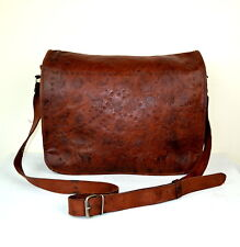 Large Vintage Brown Tooled Distressed Leather Cross Body Satchel Shoulder Bag