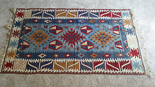 Vintage Multi-Colored Vibrant Tunisian Kilim Area Rug Wool Tribal 68x40 Carpet