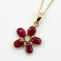 "Natural Ruby Diamond Fine Pendant 18k Solid Yellow Gold Pendant With 18"" Chain"