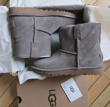 UGG Boots Gray Unlined Mini Perforated Leather Size 6 NEW $120