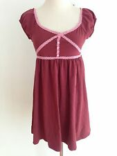 GUESS Dress Tunic Top Dark Red w/Pink Lace Accents Size L (14)