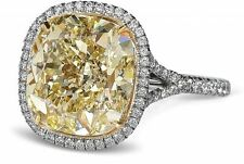 5.50Ct Fancy Yellow Cushion Halo Cocktail Solitaire Ring In Certified 14Kt Gold.