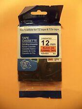 1 COMPATIBLE TZe-B31 12mm 1/2 LABEL BLACK FLUORESCENT HUNTER ORANGE BROTHER