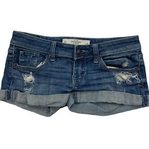 Abercrombie & Fitch Women's Blue Jeans Denim Shorts Distressed Size 00 Waist 24