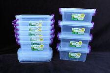 10x 300ml rectangle lock & clip box container food storage microwave freezer