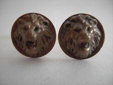 Vintage Oxidized Goldtone Lion Cuff Links