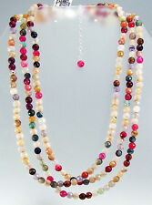 """AVALONIA ROAD 3-Row Multi Color Fire AGATE Sterling Silver Necklace 18"""""""