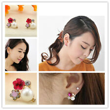 Hot 1Pair Flower Earrings Colorful Crystal Rhinestone Pearl Ear Stud Earring New