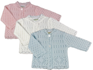 Baby Knitted Cardigan Blue Pink White Boys Girls 0-9 Months