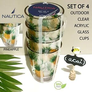 SET OF 4 - New NAUTICA Clear Pineapple Outdoor Acrylic 16oz Drinking Glasses