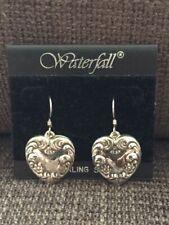 Drop/Dangle Earrings - New! Elegant Heart Sterling Silver