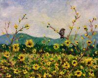 Chickadee In The Sunflowers Original Impressionist Oil Painting Bird Wall Art