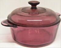 Corning Ware Vision Paneled Cranberry Round Casserole & Lid (1156) 2 qt Quart