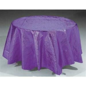 "Purple Metallic Round Tablecloth 82"" Plastic Tableware Decorations Supplies"