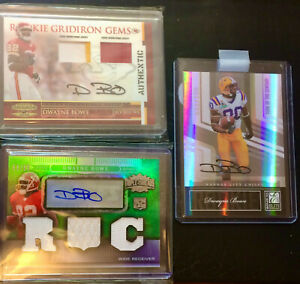 3 Card Dwayne Bowe Rc Auto/Patch Lot Low Numbered