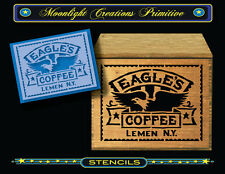Primitive Stencil~Vintage Style~EAGLE'S COFFEE~Old Style Art Typography Sign