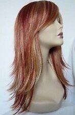 Belle et longue or rouge mélangé perruqueswig+hairnet