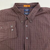 Dockers Button Up Shirt Mens XXXL Brown Plaid Stain Defender Long Sleeve Casual