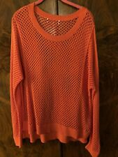 Michael Kors Open Knit Orange Sweater Size XL